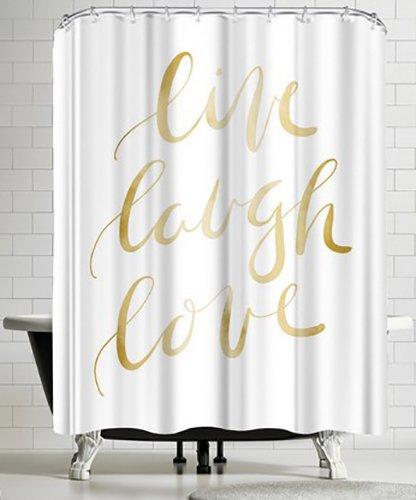 Americanflat Gold Live Laugh Love Typography Shower Curtain by Jetty Printables, 74'' H x 71'' W x 0.1'' D by Americanflat