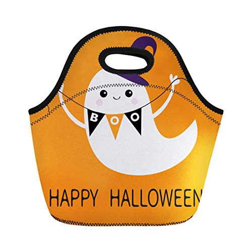 (Semtomn Neoprene Lunch Tote Bag Flying Ghost Spirit Holding Bunting Flag Boo Witch Hat Reusable Cooler Bags Insulated Thermal Picnic Handbag for Travel,School,Outdoors,)