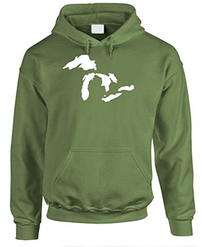 GREAT LAKES - usa america water swim boat Pullover Hoodie, S, Army