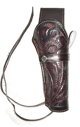 Hand Tooled Handmade Genuine Leather Gun Holster (Brown)