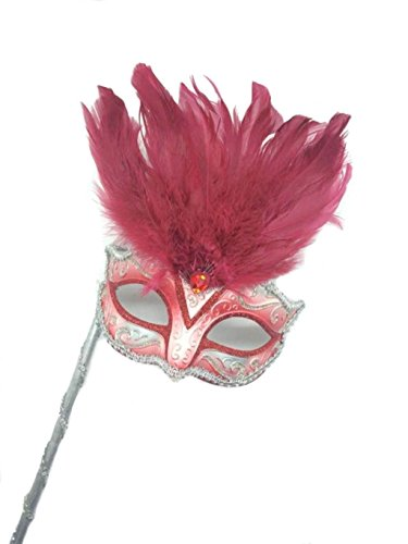 Mysterious Mardi Gras Masquerade Mask with Pink Feather & Stick (Stick Mask Feather)