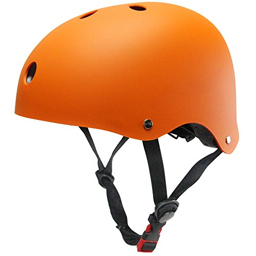 (KUYOU Helmet ABS Hard Rubber with Adjustment for Skateboard/Ski/Skating/Roller Snowboard Helmet Protective Gear Suitable Kids and Youth,(M-Orange) )