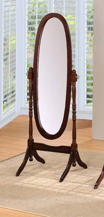 Round Style Wood Cheval Floor Mirror, Espresso