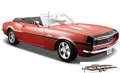 Diecast Car & Trailer Package - 1968 Chevy Camaro SS 396 Convertible, Bronze - Maisto 31257 - 1/24 Scale Diecast Model Toy Car w/Trailer ()