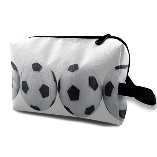 Makeup Bag White Soccer Balls Portable Travel Multifunction Cosmetic Bags Unique Storage For Girls