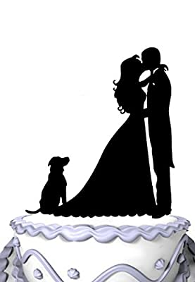 Meijiafei Kissing Bride and Groom with Dog Silhouette Wedding Cake Topper