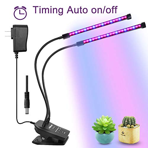 Grow Light for houseplants, Timing Automatic Work and Dimming, MUIZLUX Red and Blue Spectrum Dual Head Gooseneck Growing Strip lamp for Indoor Succulent Ochids Hydroponics