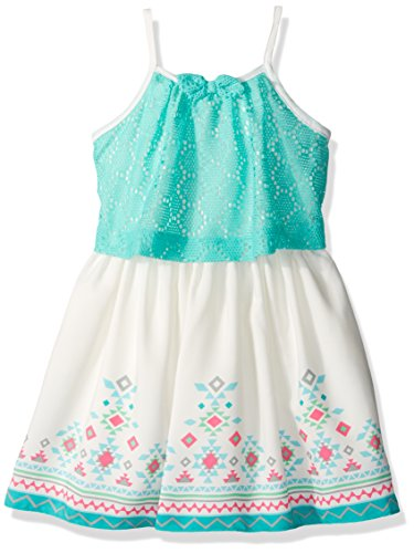 Youngland Girls' Little Crochet Knit Popover Dress with Border Print, Aqua/Ivory, 6