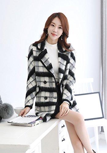 Der neue Herbst-und Winter-Mode Damen Wollmantel war dünne Wolle schwarz und weiß Plaid Einreiher Mantel ( größe : S )