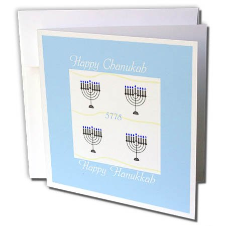 3dRose Chanukah for Special People - Image of Happy Chanukah With Menorahs On Pale Blue - 12 Greeting Cards with envelopes (gc_262588_2) (People Menorah)