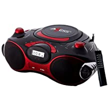 Axess PB2704-RD Portable MP3/CD Boombox with AM/FM Stereo, USB, SD, MMC, AUX Inputs (Red)