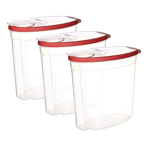 (Rubbermaid 745176257628 Cereal/Snack Storage Container Each 1.5 Gal 3-Pack, 1.5 Gallon Red)