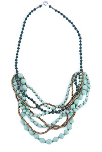 Mint Green and Dark Green Intertwined with Gold Beads and Recycled Paper Beads, Handmade by Women in Uganda, Africa