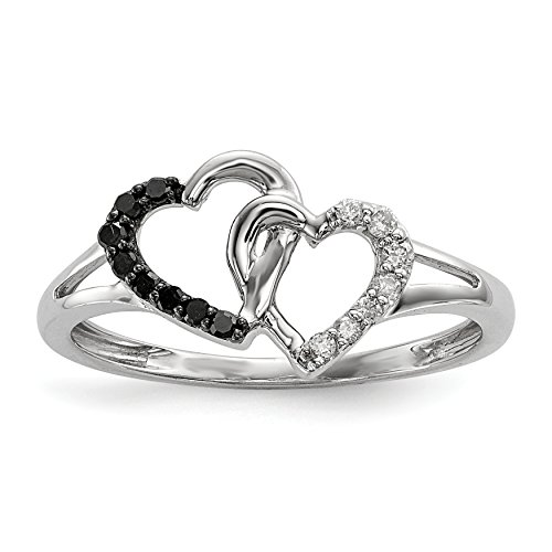 ICE CARATS 925 Sterling Silver Black White Diamond Double Heart Band Ring Size 8.00 S/love Fine Jewelry Gift Set For Women Heart by ICE CARATS