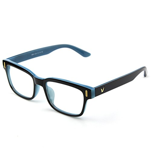 Glasses Queen 201584 Modern Fashion Rectangular Bold Thick Frame Clear Lens Eye GlassesBlack Blue