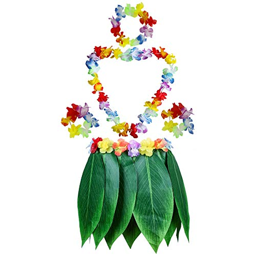 Fighting to Achieve Hawaiian Luau Green Leaf Skirts Costume Adult Grass Skirt with Flowers for Beach Dance Party -
