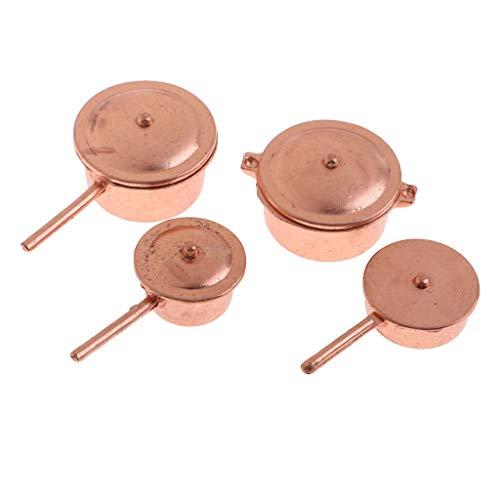 NATFUR Vintage 8pcs Miniature Metal Pots Pans Set 1/12 Dollhouse Kitchen Cookware