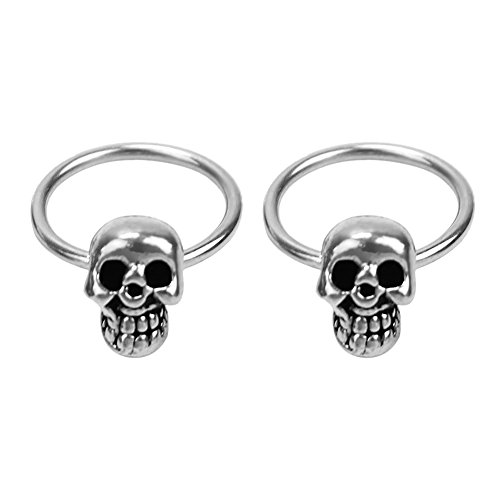 1 Pair Women Girls Stainless Steel Skull Design Round Hoop Loop Earrings Jewelry (Earrings Round Loop)