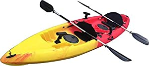 UH-TK181-RedYel-FBA BKC UH-TK181 12-foot 5-inch Sit On Top Tandem 2 Person Fishing Kayak with Paddles, Seats, and 7 Fishing Rod Holders included by Brooklyn Kayak Company