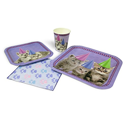 Blue Orchards Kitten Standard Party Packs (65+ Pieces for 16 Guests!), Kitten Party Supplies, Cat Birthday]()