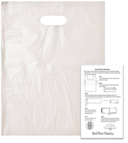 100 Ultra Clear 15x18 Die Cut Handle Bags 2.25 mil with 1 Craft Insert by Red Blue Charley