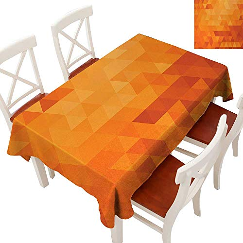 Tablecloth Pool Triangles (WinfreyDecor Tablecloth Heavy Weight for Kitchen Dinning Tabletop Decoration Triangle Mosaic Shapes and Patterns Abstract Digital Pixel Decorative Home Print Burnt Orange 60