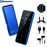 MP3 Player - HonTaseng Bluetooth 4.1 Metal Touch Button Music Player with Armband, 60 Hours Playback Time, HiFi Sound with Voice Recorder and FM Radio, Expandable 64GB TF Card, Blue