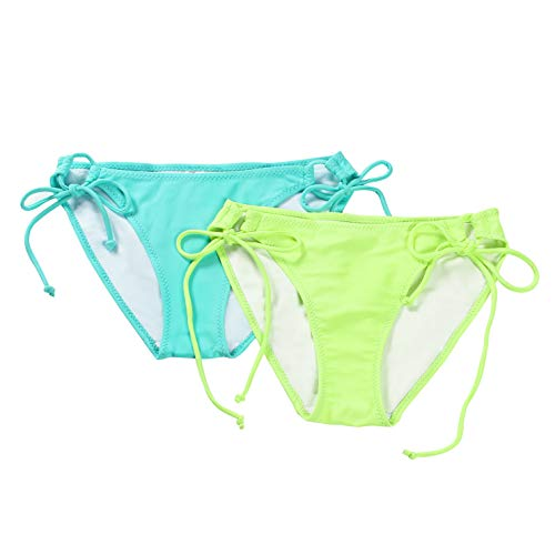 Lime Swimsuit Bikini (Reteron Women's Sexy Brazilian Tie Side Bikini Bottom 2 pack M Lime Aqua Sky)