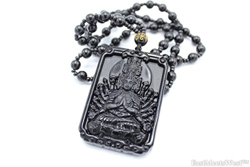 LuckyGifts Chinese Natural Obsidian Stone Carving Godess Thousand Hands Mercy Guan Yin Kwan Yin Pendant Feng Shui Protection Bead Necklace Hanging Charm