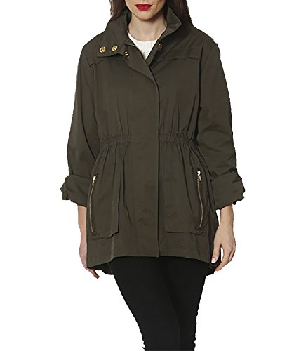 Ciao Milano Women's Tess Olive Cotton Blend Jacket XL