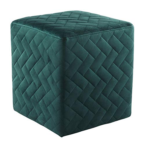 Inspired Home David Velvet Ottoman Brick Quilted Cube Hunter Green