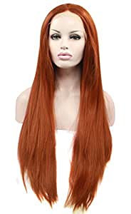 Ebingoo Synthetic Copper Red Lace Front Wig Heat Resistant Straight Hair Party Wigs(24inches)