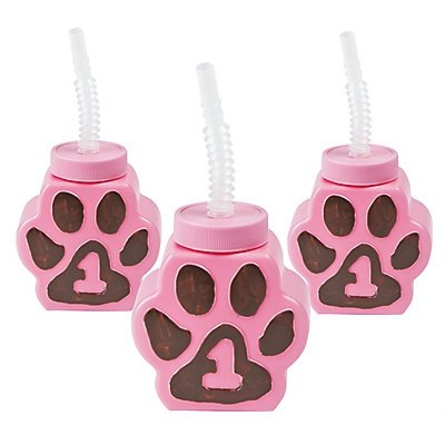 1st Birthday Cheetah Paw-Shaped Cups with Straws