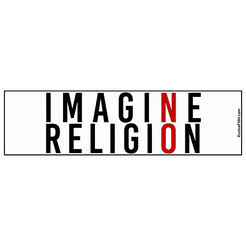 EvolveFISH Imagine NO Religion Bumper Sticker 11