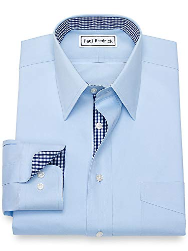 Paul Fredrick Men's Non-Iron Cotton Solid Pinpoint Button Cuff Dress Shirt Sky Blue 16.0/32