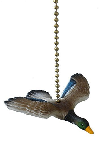 (Clementine Designs Flying Mallard Duck Hunting Bird Ceiling Fan Pull Light Chain Extender)