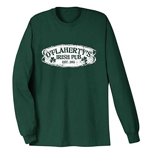WHATONEARTH Unisex-Adult Personalized Irish Shirt Custom Name Pub Long Sleeve T-Shirt - XL Personalized Irish Pub T-shirt