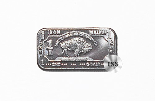 Fine .999 (Iron) Buffalo Bison Bars, Each Weighs 1 Gram, 1g Ingot, Superb Addition To Metal Collection, Part of a Unique Collectable Series, Iconic Design, Pure Fractional Industrial (Iron)