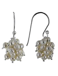 Les Poulettes Jewels - Sterling Silver Earrings and Sweet Water Beads Cluster