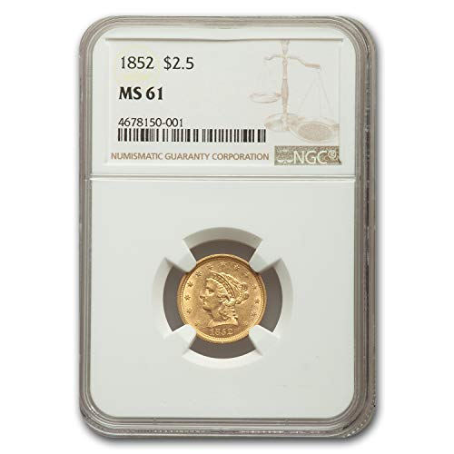 1852 $2.50 Liberty Gold Quarter Eagle MS-61 NGC $2.50 MS-61 NGC