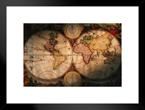 Poster Foundry Exploration and Navigational Illustrated Antique Style Map Matted Framed Wall Art Print 26x20 inch