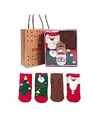Christmas Socks For Children 4 Pairs Set With Christmas Gift Box -100% Pure Cotton Baby Socks Feather Yarn Cartoon Hardcover Socks