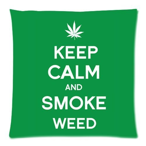 Generic Personalized Marijuana Weed Leaf Keep Calm and Smoke Weed for Zippered Throw Pillowcase 18x18 inches (one sides)