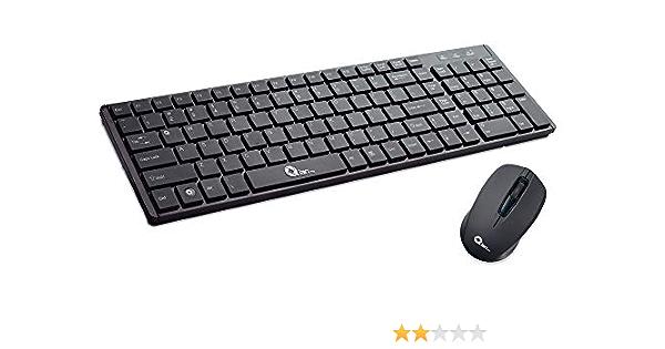 Qian Kit Teclado español + ratón inalámbrico/USB,Negro, k:105 Teclas, m:1000dpi, k:w (QAKI18001)