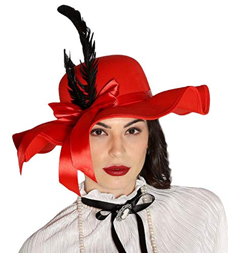 Ladies Glamorous Red & Black Feather Ribbon Bow Vintage Style Hat 1940s 1920s Fancy Dress Costume Outfit -