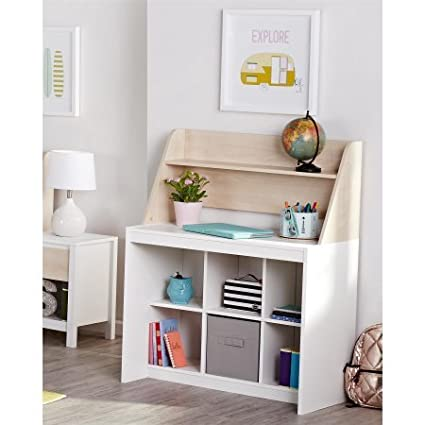 Give Kids Their Own Space For Arts and Crafts or For Homework With Novogratz Addison Kids Desk with Hutch, Ample Storage for Kids Room, Natural Generic