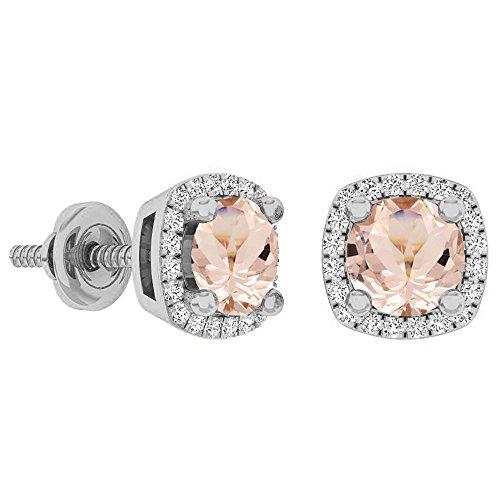 (Dazzlingrock Collection 10K 5 MM Each Round Cut Morganite & White Diamond Ladies Halo Stud Earrings, White)