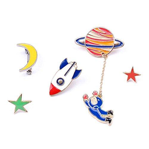 Fun Daisy 5Pcs Funny Astronauts Brooch Pin Foods Collar Pins Lips Rocket Star Moon - Sunglasses Decorate Craft