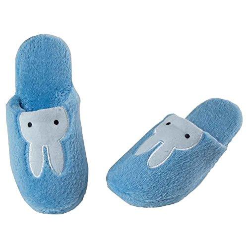 Maybest Dames Comfortabele Fleece Pluche Anti-slip Indoor Slipper Blauw