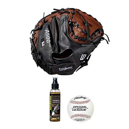 "Wilson 2019 A500 Baseball Glove Series Catcher039;s Mitt (32"" - Right Hand Throw), Premium Glove Oil and Official League Baseballs - Value Bundle"